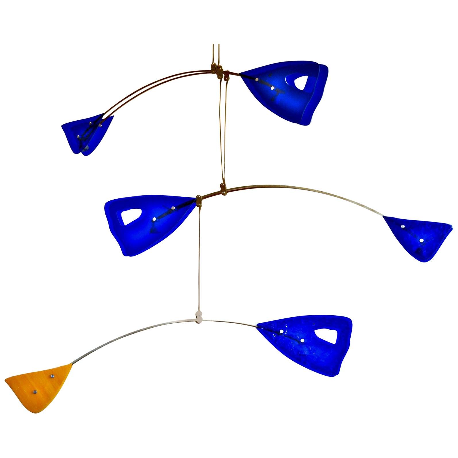 Illuminated Sculpture Murano Glass Brass Mobile Chandelier, Cobalt