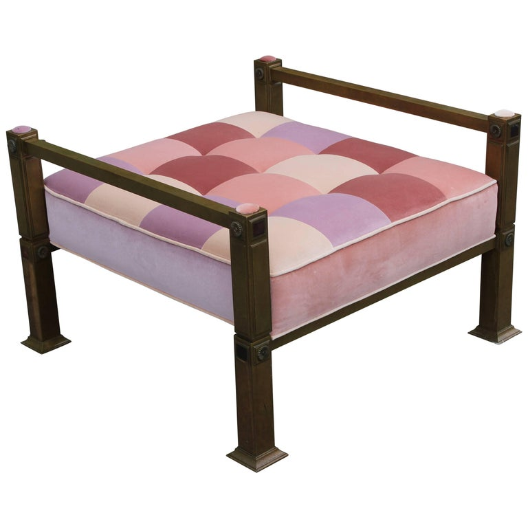 Hollywood Regency Mastercraft Style Bench or Ottoman in Pink Velvet Patchwork