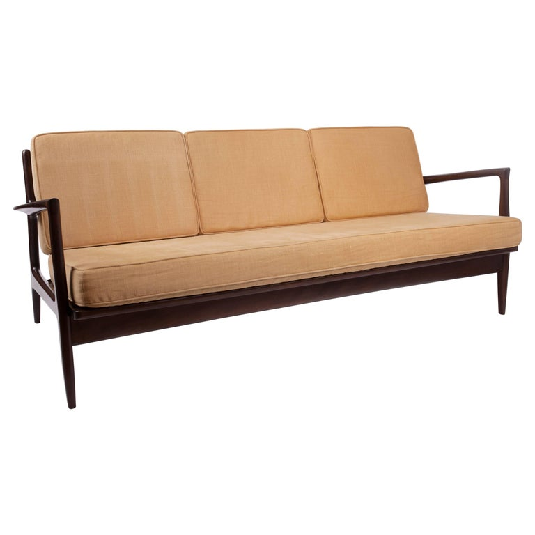 Sleek Danish Modern Sofa by Ib Kofod-Larsen in Mahogany Stained Teak, 1950s