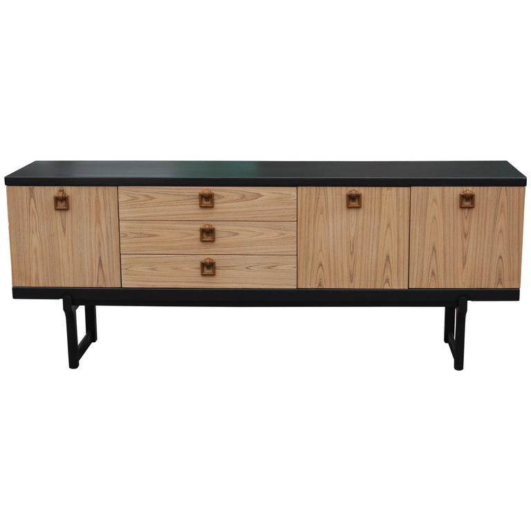Modern Two-Tone Bleached and Charcoal Credenza/Sideboard with Bakelite Handles