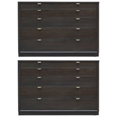 Pair of Black Edward Wormley for Drexel Bachelor's Chests with Ebonized Handles