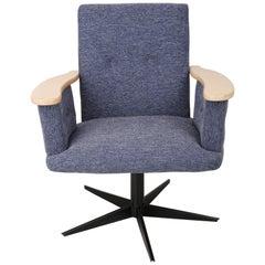 20th Century Vintage Blue Mini Swivel Armchair, 1960s