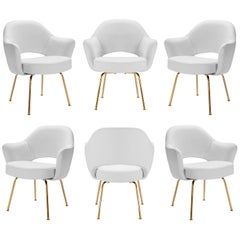 Saarinen Executive Arm Chairs in Dove Luxe Suede, 24k Gold Edition, Set of Six