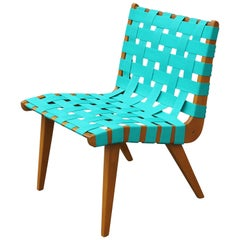 Modern Jens Risom Turquoise Weaved Strap Lounge Chair