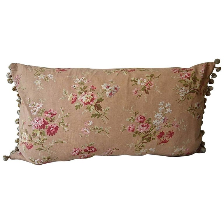 Early 20th Century French Pretty Floral Bobble Trim Pillow