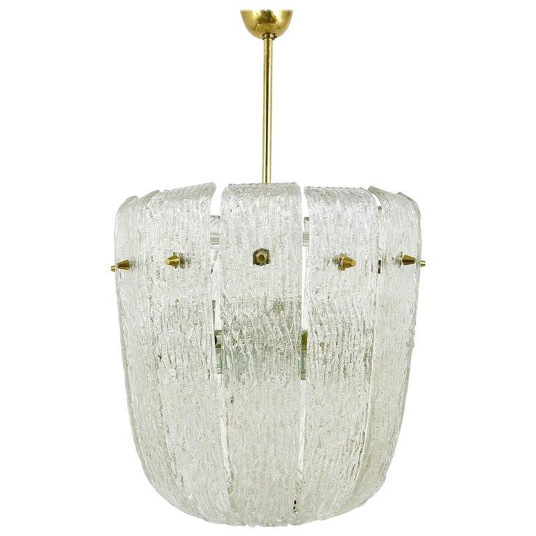Kalmar Midcentury Brass Textured Glass Chandelier, Austria, 1950s
