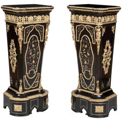 French 19th Century Pair of Pietra Dura Pedestals in the Manner of Befort Fils