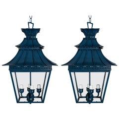 Pair of Chinoiserie Custom Painted Blue Pagoda Lanterns