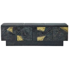 Paul Evans Brutalist  Welded Steel Cabinet, Model PE40A.