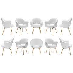Saarinen Executive Arm Chairs in Dove Luxe Suede, 24k Gold Edition, Set of Ten
