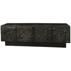 Large Paul Evans Sculpted Bronze Cabinet, USA, 1973