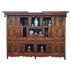 Chinese Temple Hand-Carved Oriental Hardwood Display Cabinet