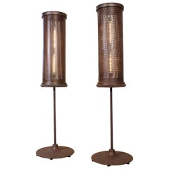 Pair of Steel Floor Lamps Industrial/Brutalist Style 6'