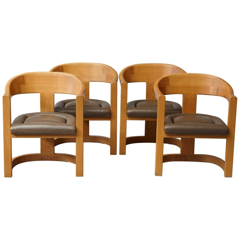 Set of Four Karl Springer Oak and Leather 'Onassis' Arm or Dining Chairs