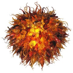 Handblown Glass Light Fixture in a Manner of Dale Chihuly