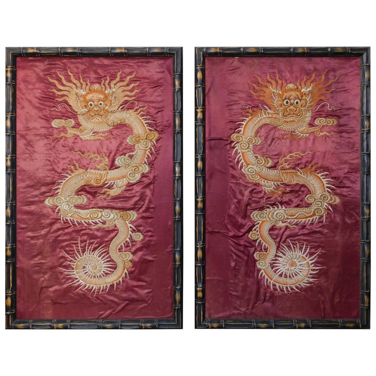 Pair of Chinese 19th Century Heavily Embroidered Dragon Silk Panels