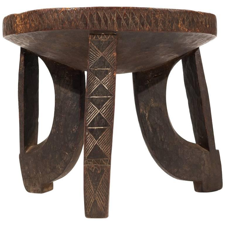 Colonial Era Ethiopian Stool with Decorative African Carving