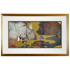 Framed Print of Asian Six-Panel Landscape Screen
