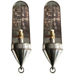 Pair of Spanish Silver Metal Sconces