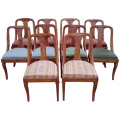 Set of Ten 19th Century Antique Walnut Biedermeier Dining Chairs