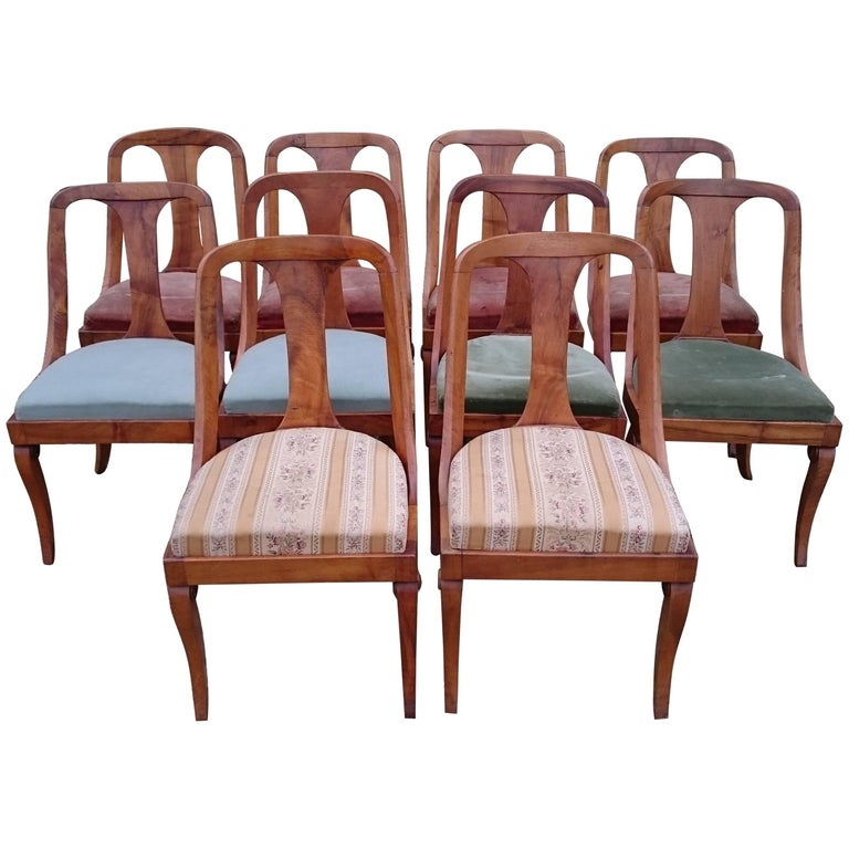 Set of Ten 19th Century Antique Walnut Biedermeier Dining Chairs For Sale - Set Of Ten 19th Century Antique Walnut Biedermeier Dining Chairs For