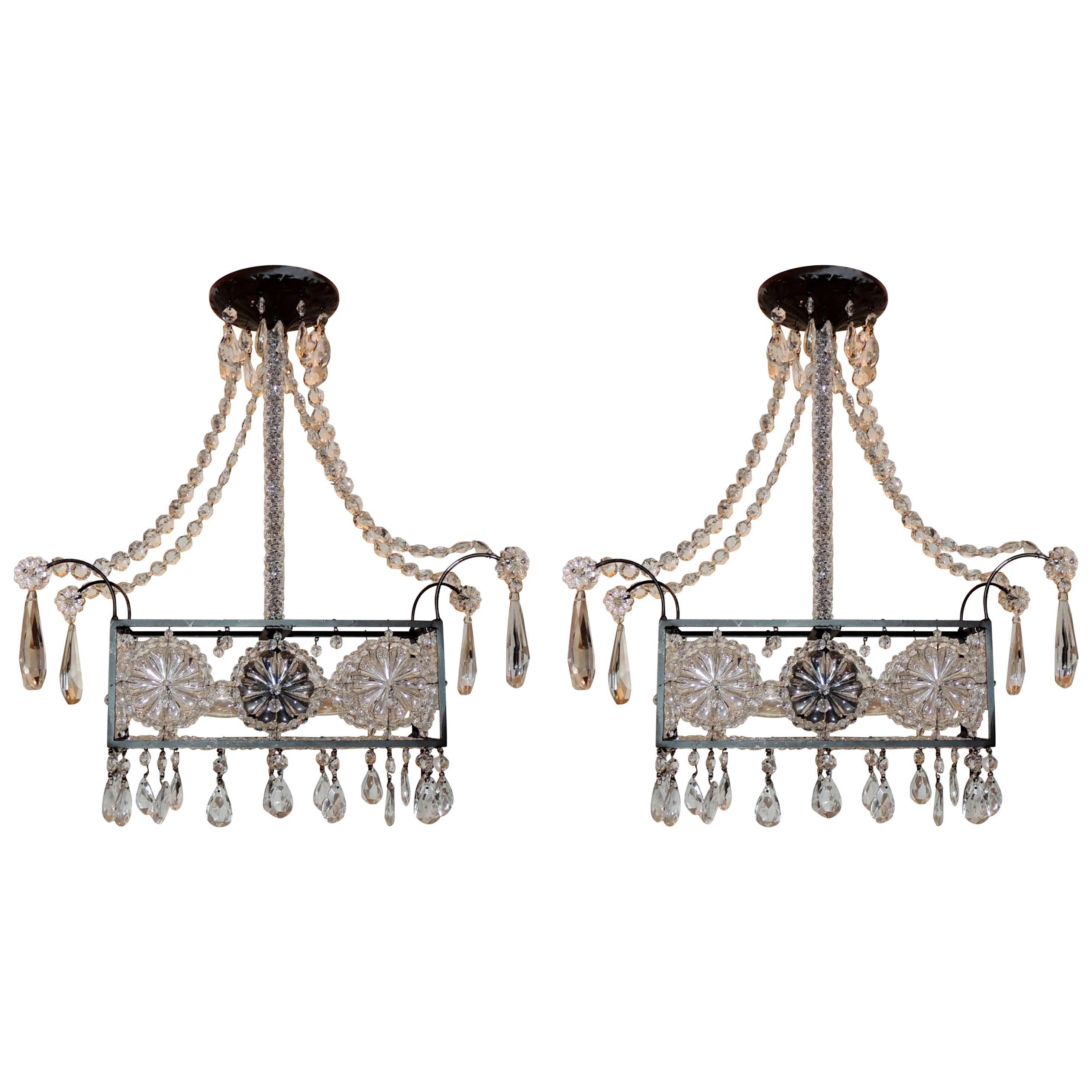 Modern Pair Beaded Rectangle Flower Crystal Basket Light Fixture Chandeliers