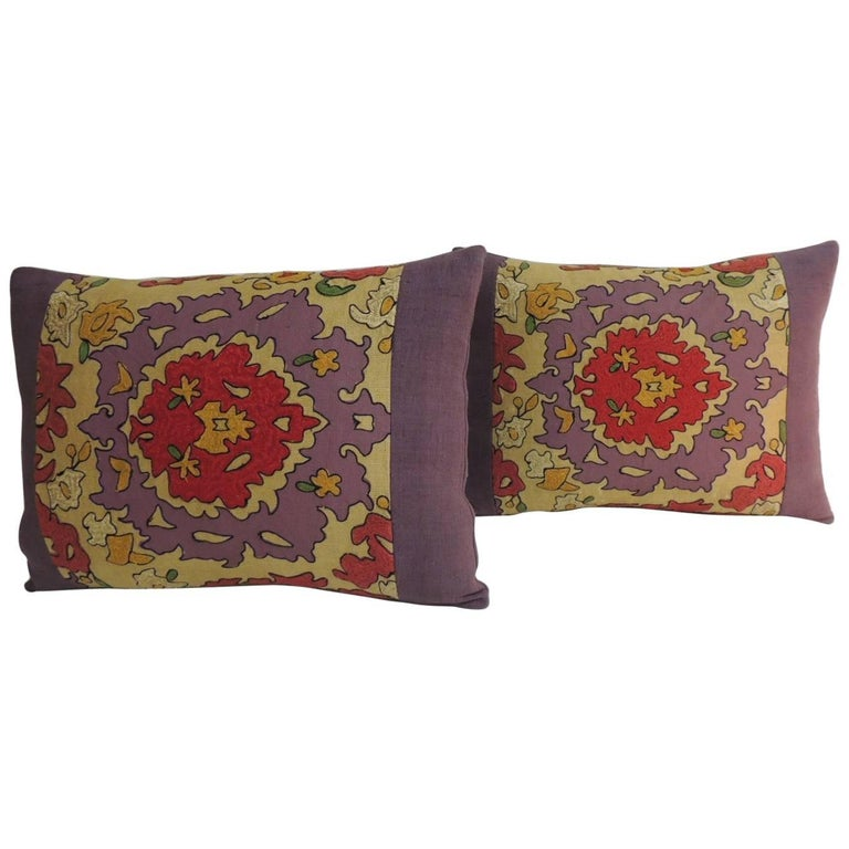 Pair of Vintage Suzani Embroidery Purple Lumbar Decorative Pillows