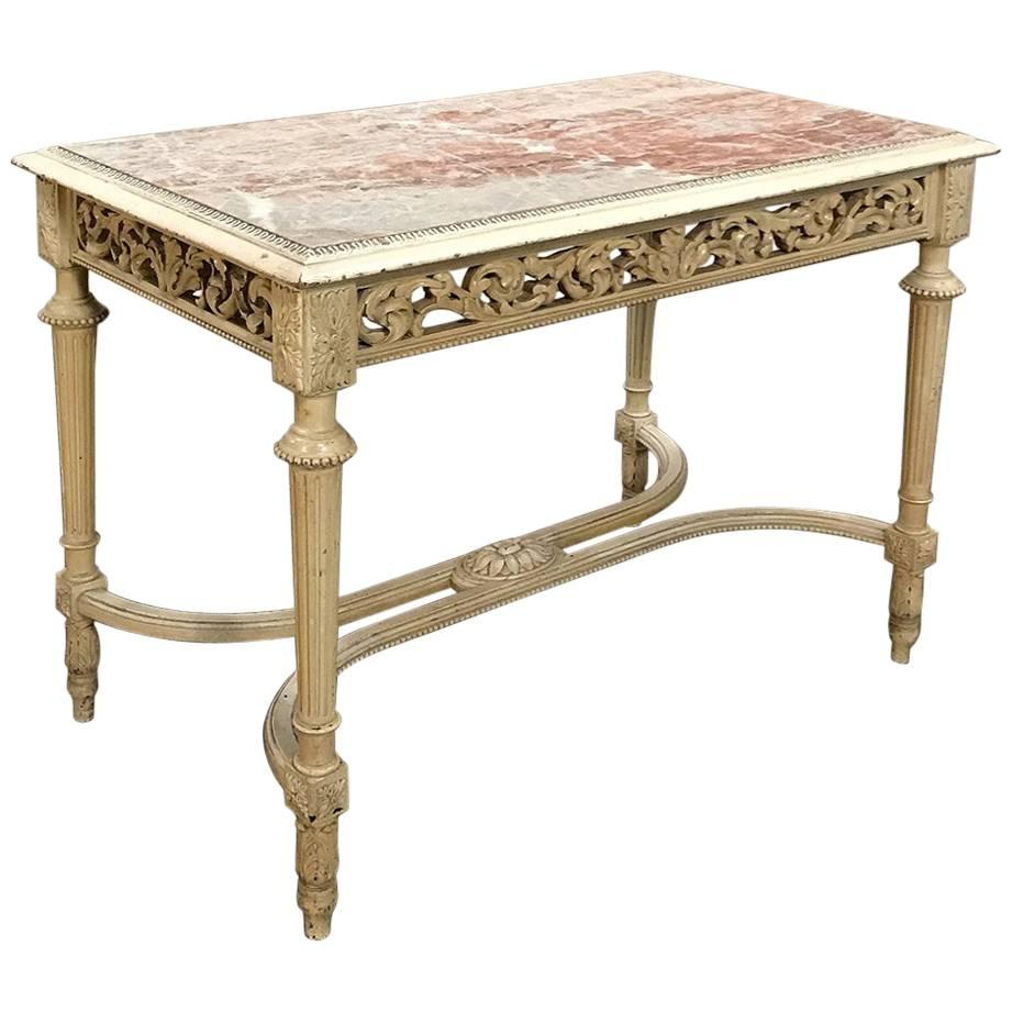 Attirant 19th Century French Louis XVI Marble Top Painted End Table For Sale
