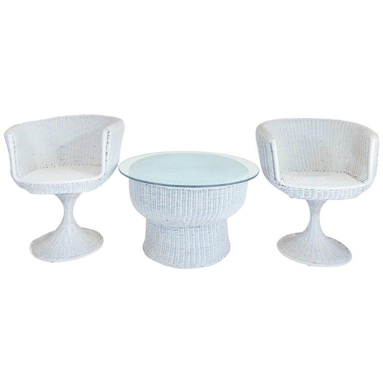 Eero Arnio Pair of Rare 1960s Rattan Tulip Swivel Chairs and Table Set