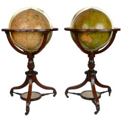 Fine and Rare Pair of English Regency Floor Standing Library Globes