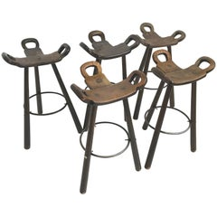 Brutalist Barstool Spanish Chair Marbella Set of Five