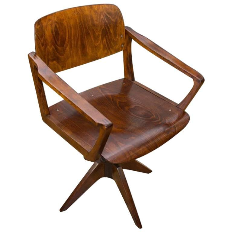 Mid Century Swivel Writing Desk Chair by Ton, 1960s, Czechoslovakia