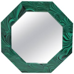 Octagonal Green Malachite Style Wall Mirror
