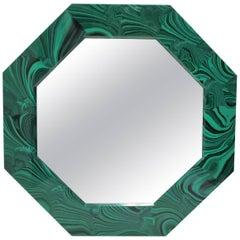 Octagonal Green Malachite Style Wall Mirror, 21st Century