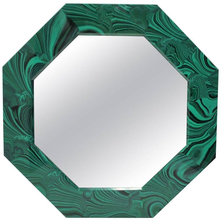 Octagonal Green Malachite Style Wall Mirror