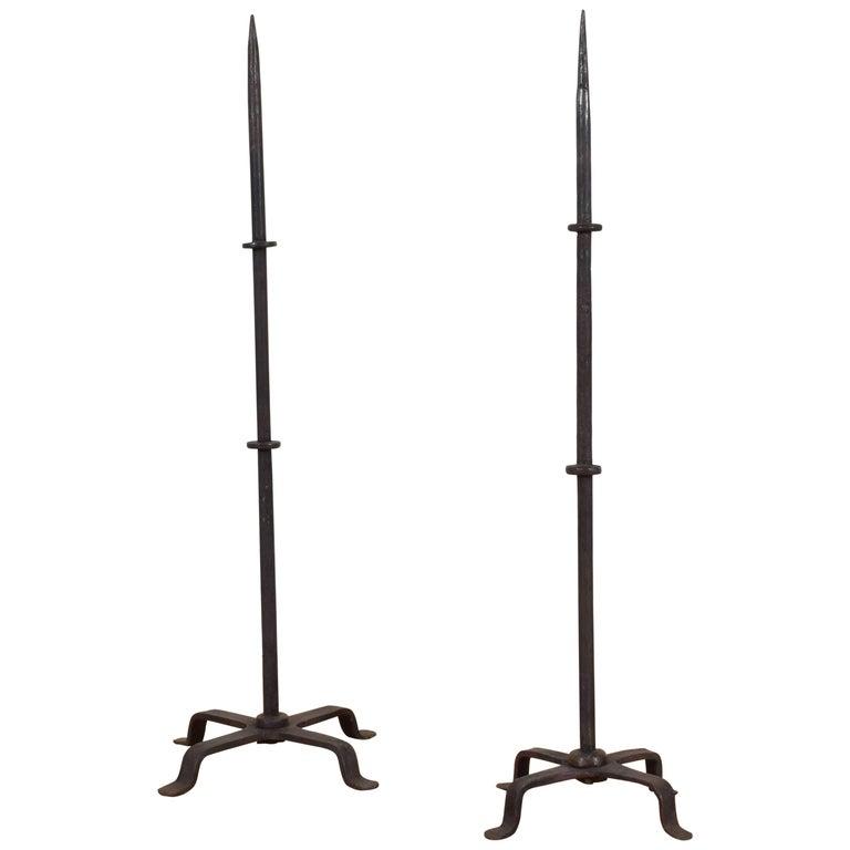 Italian Baroque Style Pair of Wrought Iron Torcheres, Mid-19th Century
