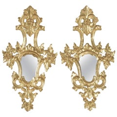 Pair of Superior Quality Gold Gilt Wooden Hand Carved Mirrors Napoleon III