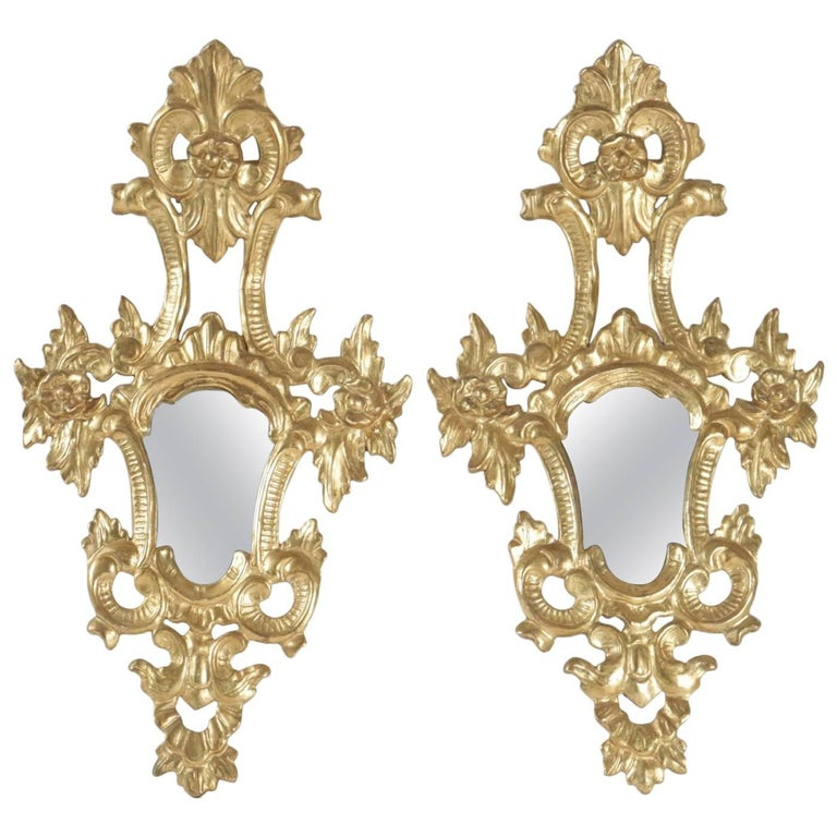 Pair of Superior Quality Gold Gilt Wooden Hand Carved Mirrors Napoleon III For Sale