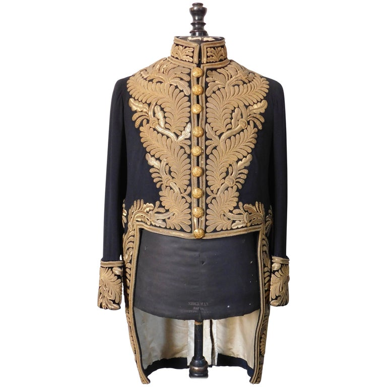 Gold Bullion Embroidered British Diplomatic Tailcoat and French Mannequin