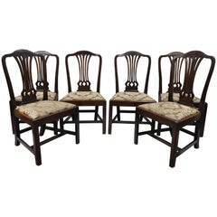 Set of Six Antique Mahogany George III Chippendale Style Dining Room Side Chairs