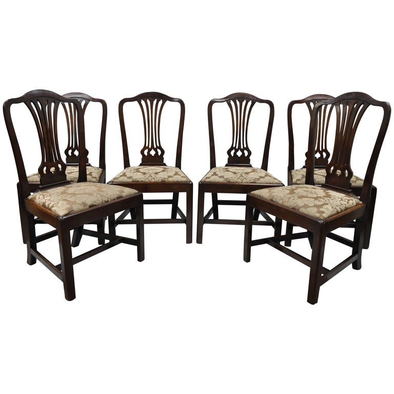 Six Antique Mahogany George III Chippendale Style Dining Side Chairs