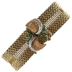 Antique 14-Karat Yellow Gold, Diamond and Emerald Bracelet