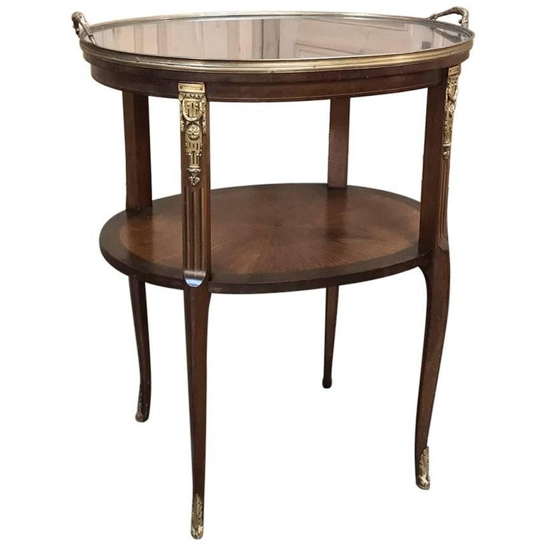 19th Century French Oval Marquetry and Ormolu Occasional Table with Glass Tray For Sale