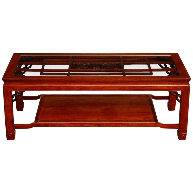 Chinese Carved Rosewood Two-Tier Coffee Cocktail Table
