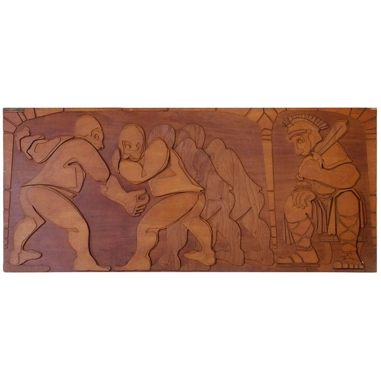 Brutalist Wood Wall Sculpture by Giampiero Volpe Prignano, Aka 'YURI', 1970s
