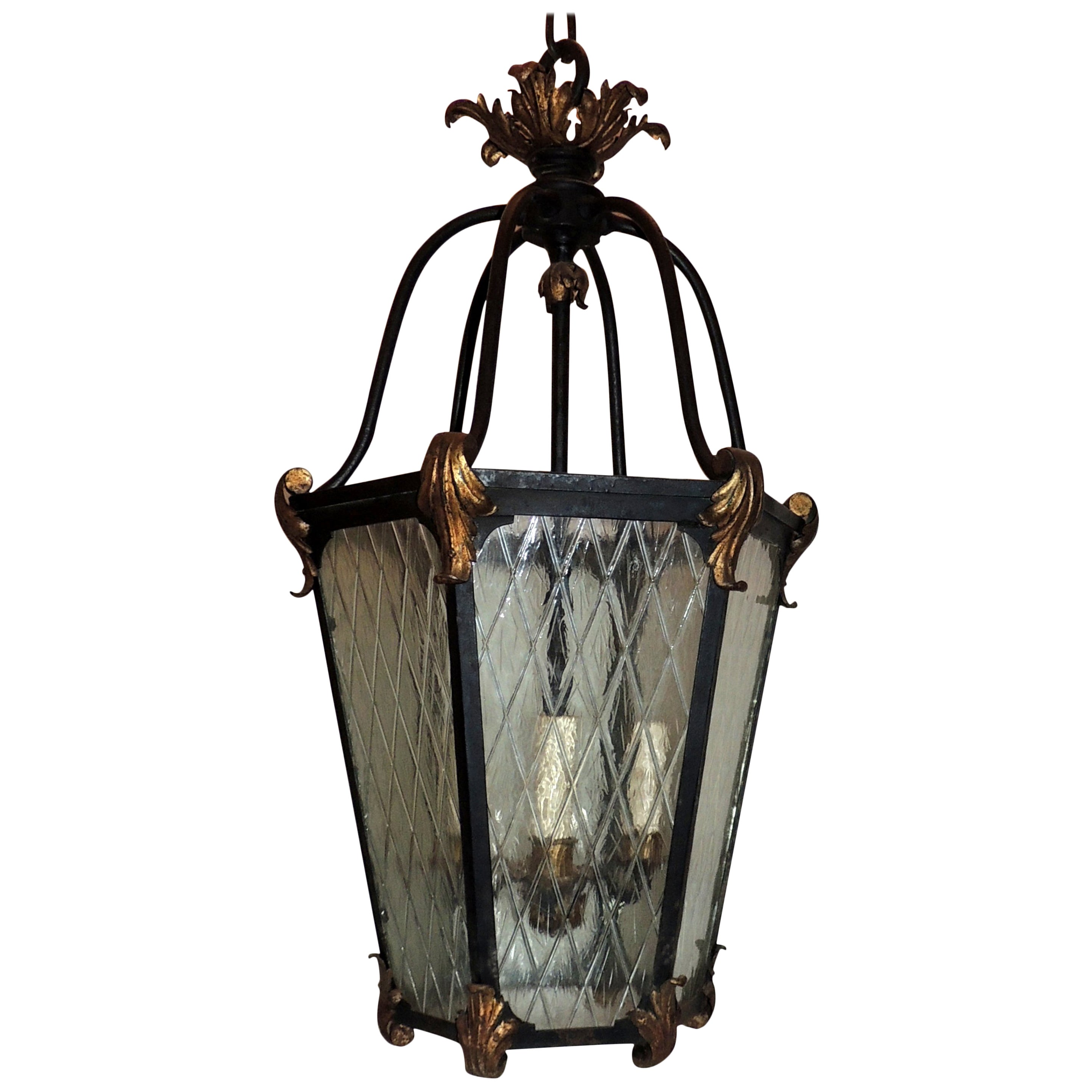Large country french wrought iron lattice glass lantern pendent exterior fixture