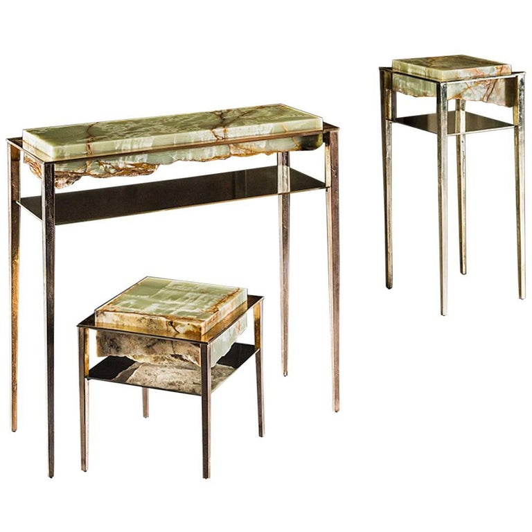 Cremino Green Onyx Console Handcrafted by Gianluca Pacchioni For Sale
