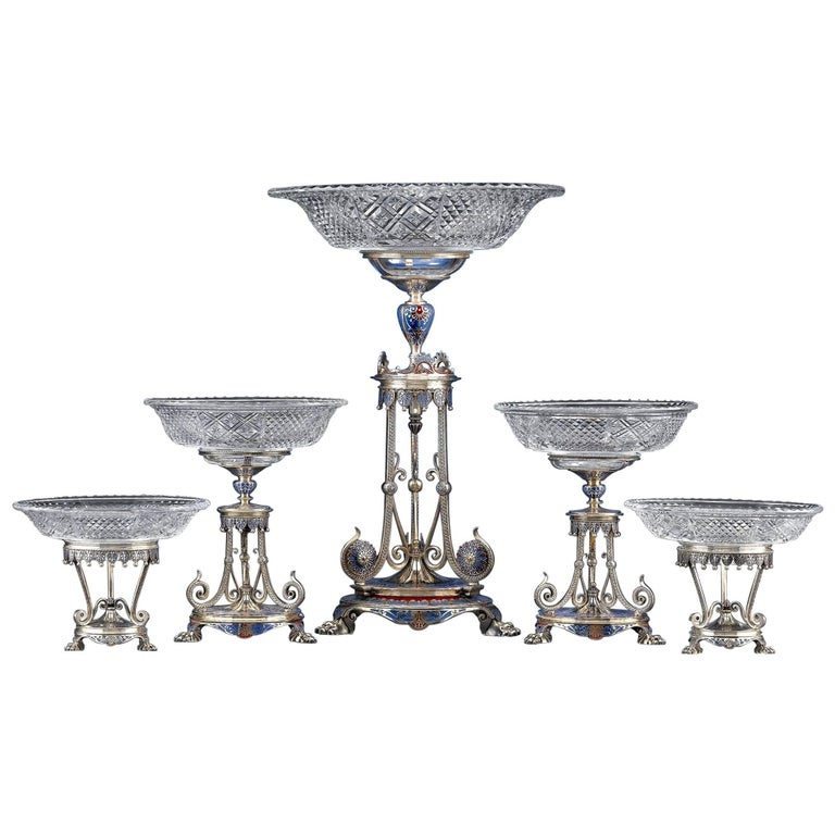 19th Century Elkington Garniture Set For Sale