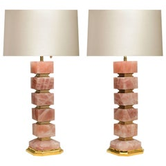 Pair of Cubic Style Rock Crystal Table Lamps
