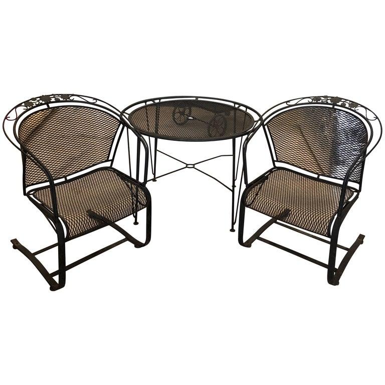 S/3 Mid-Century Modern Russell Woodard Wrought Iron Table & Two Rocker Armchairs